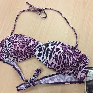 Pink animal print bandeau swimsuit - brand new !!